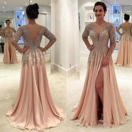 peach beaded evening gown 2019 - Peach Crystals Backless Dresses Prom Dresses 2018 Deep V Neck Beaded Evening Wear Gowns Floor Length A Line Chiffon Spli