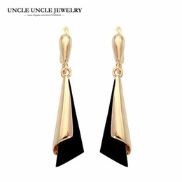 f037a07c0 Earring Rose Gold Drop Canada - Elegant Rose Gold Color Fashion Long Style  Black Color Acrylic