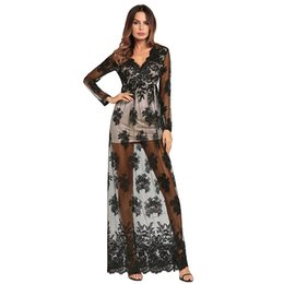 $enCountryForm.capitalKeyWord UK - Women Long Dress Floral Sexy 2018 Summer V Neck Elegant See Through Ladies Evening Party Holiday Clothing Black Red