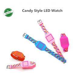 Wholesale DHL LED Square Shaped Multicolor Spot Watch High Quality Slilicone Kids Girls And Boys Cartoon Cute Candy Watch