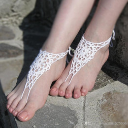 Wholesale Beach wedding White hand Crochet Bridal Barefoot Sandals Nude shoes Foot jewelry Bridal Victorian Lace Anklet
