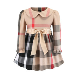 plaid bow dress Canada - Autumn Girls Dress with Bow European and American Long Sleeved Classic Plaid 100% Cotton Dress Baby Dress Hot Sale