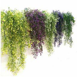Hoomall Verde Viola Artificiale Pianta Seta Rattan Parete Fiore Pianta Decorazione della festa nuziale Fiori finti Vine Decorazione della casa GA603