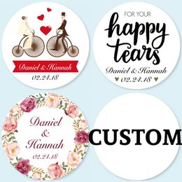 Wholesale 4CM Pieces Customized Personalized Wedding Stickers Logos Candy Favor Boxes Tags Cupcake Bottle Labels Invitations Seals