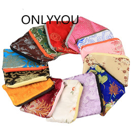 $enCountryForm.capitalKeyWord NZ - Fashion Chinese Silk Pouch Zip Bags Small Coin Purse Party Favors Christmas Gift Card Holder Satin Jewelry Packaging Bag 100pcs  lot