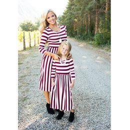 matching mother daughter clothing wholesale Canada - Mother Daughter Dresses Fashion Long Sleeve Striped Cotton Family Look Matching Clothes Mom and Daughter Dresses Family Clothing A9936