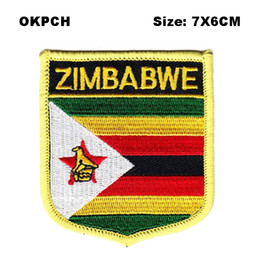 $enCountryForm.capitalKeyWord NZ - Zimbabwe Shield Shape Iron-on Flag Patch Embroidered Saw on Badges Patches for Clothing