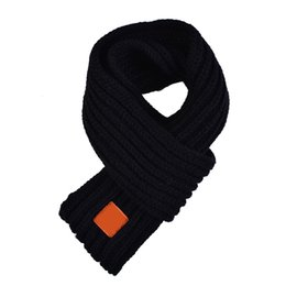 Discount wholesale solid cotton scarves - 5 Colors Knitting Cotton Scarves Child Wool Warm Neck Scarves Casual Comfortable Soft Solid Lovely Boys Girl Autumn Wint