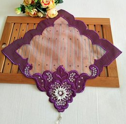 Kitchen Place Mats Australia - HOT Beads embroidery table place mat lace placemat drink Cup mug holder trivet coaster dining doily pad Christmas kitchen