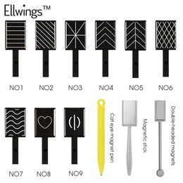 Wholesale Ellwings DIY Strip Magical Magnet Stick for Cat Eye Gel Polish Nail Art Manicure Tool D Effect Strong Double headed Magnet