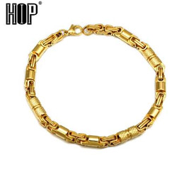 silver chain for men 6mm 2019 - HIP Hop 6mm 23CM Titanium Stainless Steel Round Byzantine Chain Bracelets For Men Rock Jewelry Gold Silver Black Color c