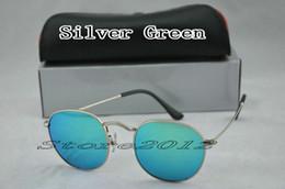 Sun Glasses Designer Hot Women NZ - Hot sell New Round Sunglasses Designer Brand Sun Glasses Silver Metal Green Mirror 50mm Glass Lenses For Men Women With Box Case Store2012