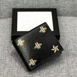 Wholesale Classic Luxury best quality men lReal eather brand wallet casual short paragraph designer cardholder pocket fashion wallet Tiger bee snake