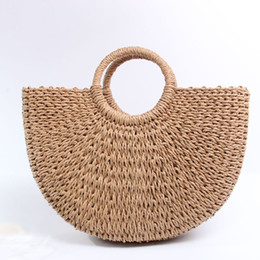 Woven easter baskets online shopping - Hand Woven Beach Bag Round Straw Totes Bag Large Bucket Summer Bags Women Natural Basket Handbag High Quality INS Popular E57