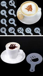 Hot Garden 16pcs Stencil Filter Caffettiera Cappuccino Coffee Barista Modelli di stampi Strew Flowers Pad Spray Art Coffee Tools