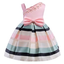 Kids Cross Bows NZ - 2018 Elegant Kids Girls Dresses stripe Tutu Dress Wedding Pageant Outfits Princess Party Dress Girls christmas Clothes For 2-10 Y clothing