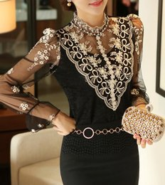 plus size lace ruffled blouses NZ - 2018 new fahsion Spring summer long-sleeved Women lace blouses Slim Elegant Plus size sexy shirt top