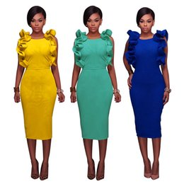 Chinese  2018 Petal Sleeveless Sexy Sheath Backless Split Women Party Casual Dresses Bodycon Slim Office Lady Work Dress Free Shipping FS3493 manufacturers