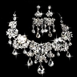 crystal multi flower necklace NZ - Bridal Necklace Earrings two pieces of water drill flowers new ornaments Wedding Jewelry