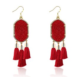 Chinese  Fashion Gold Plated Candy Geometry Hexagon Resin Druzy Tassels Earrings For Women brand Jewelry manufacturers