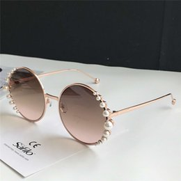 Discount pearl red box - PEARLS 0295S Round Sunglasses Pink Brown Pink Shaded Sonnenbrille women brand designer sunglasses Gafas de sol New with