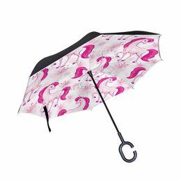 $enCountryForm.capitalKeyWord Australia - Unicorn Nubrella Hands Free Hands-Free C Shape Handle Inverted Reverse Chinese Male Woman Umbrella