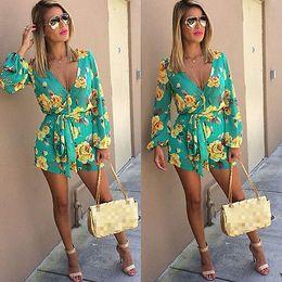 Strap Romper Women Australia - 2016 Summer new style floral print women short jumpsuit romper Deep v neck strap playsuits overalls