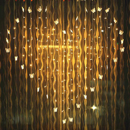 curtains uk UK - YIYANG 2x1.6m Butterfly Curtain LED String Light 34 Hearts Lights Multicolor Holiday Wedding Decoracao Curtain lamps EU UK AU
