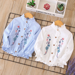 blue embroidered blouse NZ - Everweekend Kids Girls Floral Embroidered Ruffles Tees Tops Candy White Blue Color Stripes Fashion Children Spring Autumn Blouse b11