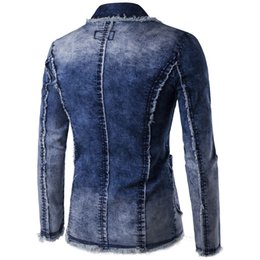 ingrosso giacche jeans casuali-Denim Jacket Suit Men New Spring Fashion blazer slim fit masculino Trend Jeans Abiti Casual Suit Jean Jacket Uomo Slim Fit
