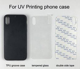 double tape for phone Australia - Blank UV Printing phone case for iphone 5 6 7 8 Plus X XS Max XR Soft TPU groove case + tempered glass + double side tape 10pcs