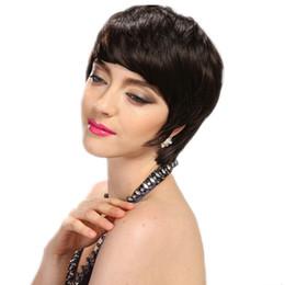 Cheap Celebrity Hair Australia - Cheap Short Human Natural Brazilian Virgin Hair Glueless Wig For Black Women Celebrity Human Real Hair Short Cut None lace Wigs Hot Sale