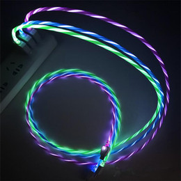 Wholesale Led USB Cable Flash Light Up Data Line Mobile Phone Charger For Samsung S8 S9 Huawei Android Type C M Cable