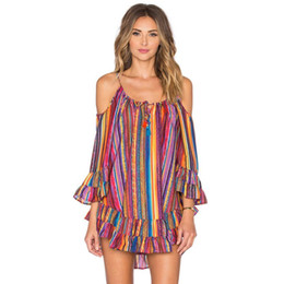 146ebe460a8 2019 Fashion Women Sexy party Dress Plus Size Off Shoulder Summer Rainbow  Print Fringed Beach Loose Chiffon Strap Dress Vestidos