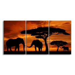 $enCountryForm.capitalKeyWord NZ - 3 pieces high-definition print African landscape canvas oil painting poster and wall art living room picture FZ3-001