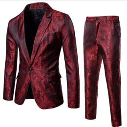 Traje de Paisley del club nocturno del vino rojo de la moda (chaqueta +  pantalones) Hombres solo pecho trajes para hombre Vestido de boda del  partido de la ... 8dc6eefe9bd
