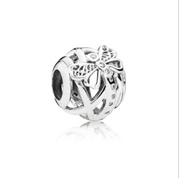 pandora dragonfly UK - 2018 Summer New Authentic 925 Sterling Silver Bead Hollow Dreamy Dragonfly Charm Fit Original Pandora Bracelet Women DIY Charms Jewelry
