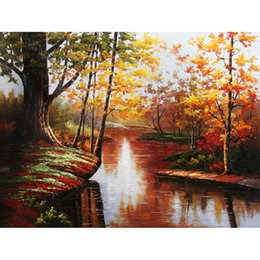 $enCountryForm.capitalKeyWord NZ - pictures by numbers on canvas Autumn river Forest Scenery Home decor painting by numbers with acrylic posters