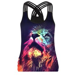 $enCountryForm.capitalKeyWord UK - 2018 summer 3D lion Print vest Fashion women sexy tank tops 3D color animal printed sleeveless Sling hollow out ladies hip hop for woman