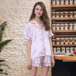 Cozy Shirt NZ - Luxury Spring Pink Dot Silk Pajamas Set 2 Piece Top+Shorts Cozy Women Loungewear Satin Sleepwear Lady Nightwear Pijama Feminino