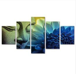 Buddhas Decor UK - Blue flower buddha,5 Pieces Canvas Prints Wall Art Oil Painting Home Decor (Unframed Framed)