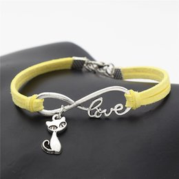 $enCountryForm.capitalKeyWord NZ - New 2019 Bohemian Fashion Vintage Infinity Love Cat Fox Pendant Bracelets Bangles for Women Men Yellow Leather Suede Rope Charm Jewelry Gift