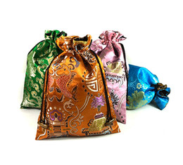 China Luxury Flower Chinese Silk Drawstring Bags Decorating Extra Large Pouches Gift Bags for Jewelry Packaging Bags with Lined 20x27cm 2pcs l suppliers