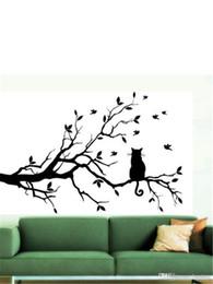 Discount black cat window stickers - Wholesale Cat On Long Tree Branch DIY Vinyl Wall Sticker Decals Wall Art Mural Home Decor Window Kitchen Wallpaper