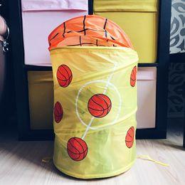 Folded Laundry Basket Canada - Kids Foldable Pop Up Laundry Basket Toys Storage Bag Folding Hamper Laundry Clothes Towel Organizer Bag Basket 34x55CM
