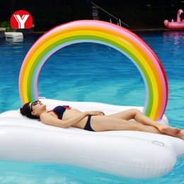 $enCountryForm.capitalKeyWord NZ - Giant Inflatable Pool Float Inflatable Rainbow Cloud Float Beach Party Inflatable Float for Pool Water Swim Ring Party Toys