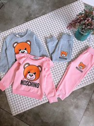 Cute 3t girl Clothing online shopping - Cute bear design Children Autumn Spring Sweatshirt Pants Girls Boys Clothes suit Set For Years