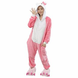 3b6eef87af97 2017 Cute Dot Hello Kitty Cat Pajamas For Women Cartoon Pajamas Winter  Autumn Animal Onesie Warm Homewear Sleepwear Sets