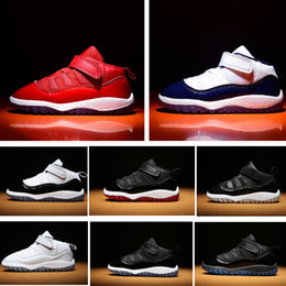 kids athletic shoes 2019 - Midnight Navy 11s Infant Sneakers Gamma Blue Gym red baby small kids basketball shoes 11 bred concord boy and girl child