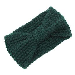 China Crochet Flower Bow Knitted Head wrap Headband Hair Band (Dark green) cheap crochet knit flower headband suppliers